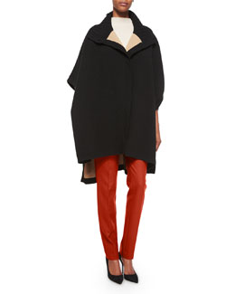 Palomina Turtleneck Knit Poncho, Jodi B Half-Sleeve Cashmere Sweater & Trecca Straight-Leg Dress Pants