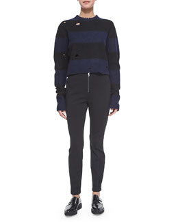 Striped Wool Cropped Sweater & Ponte Zip-Front Pants