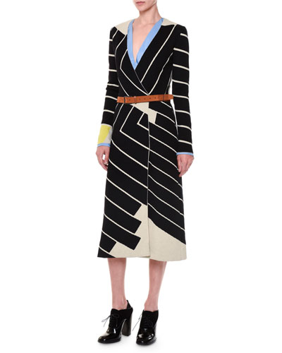 Asymmetric Striped Faux-Wrap Dress, Crepe Front-Paneled Blouse & Velour Leather Belt
