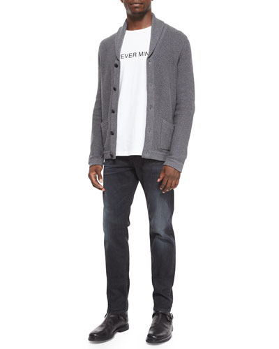 Avery Shawl-Collar Knit Cardigan & Slim-Fit Faded Denim Jeans