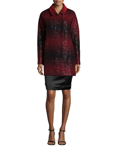 Eldridge Sequined Wool Coat & Marta Strapless Duchess Satin Dress