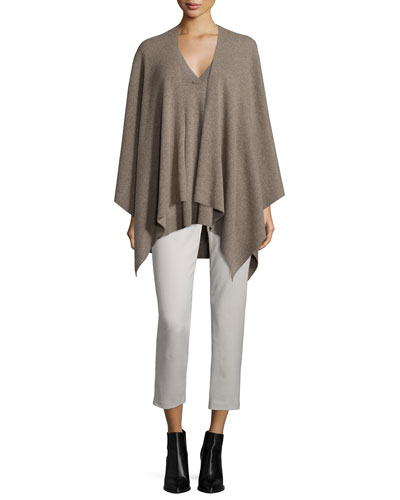 Luxe Cashmere Poncho, Cashmere V-Neck Sweater & Slim-Fit Side-Zip Trousers