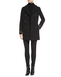 Wool-Blend Double-Breasted Pea Coat, Pique-Knit Cutout Turtleneck Sweater & High-Waist Slim-Fit Gabardine Pants