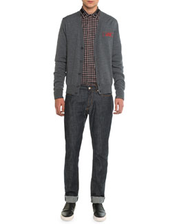 Love-Embroidered Cardigan, Plaid Woven Shirt with Star Collar & Raw Slim Denim Jeans