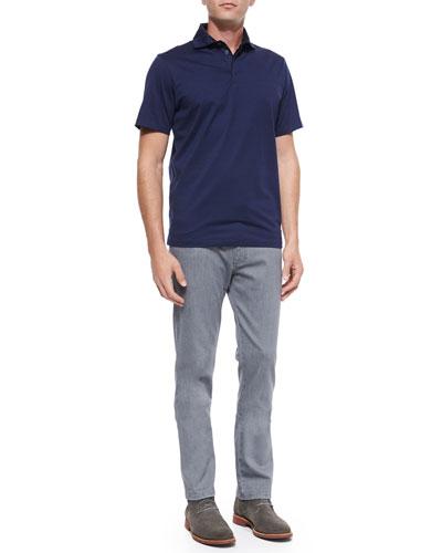 Short-Sleeve Knit Polo Shirt & Slim-Fit Denim Jeans