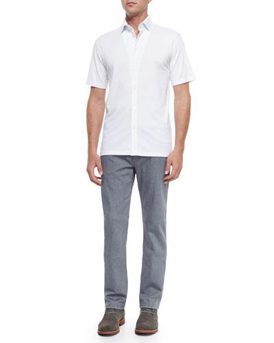 Solid Button-Down Shirt & Slim-Fit Denim Jeans