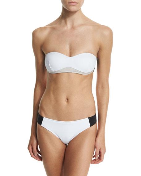 Stella Iconic Colorblock Bandeau Swim Top, Black/Stone/White