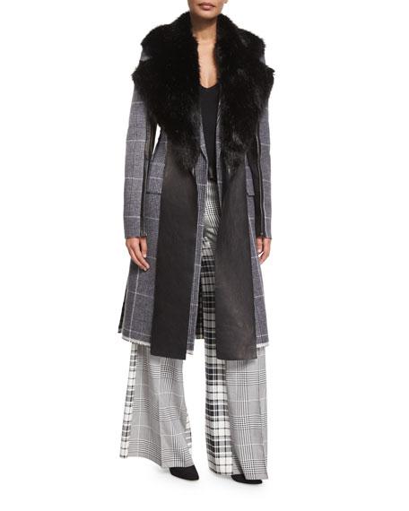 Mixed-Plaid Wool Coat w/Leather Trim, Black