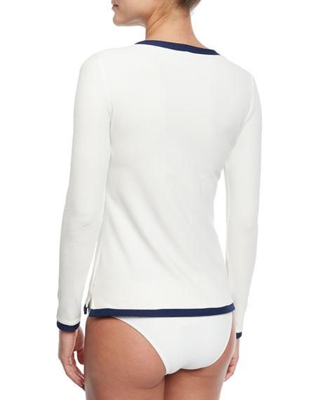 Ostuni Scalloped Fold-Over Swim Bikini Bottom, White