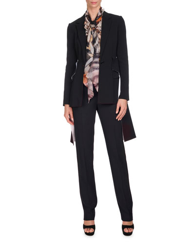 Wool Blazer w/Cascading Peplum and Matching Items