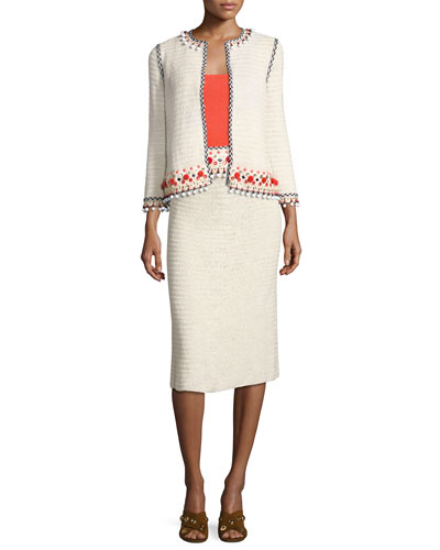 Pompom-Embellished Linen Jacket, Beige and Matching Items