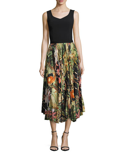 Pleated Jungle-Print Skirt, Black Pattern and Matching Items