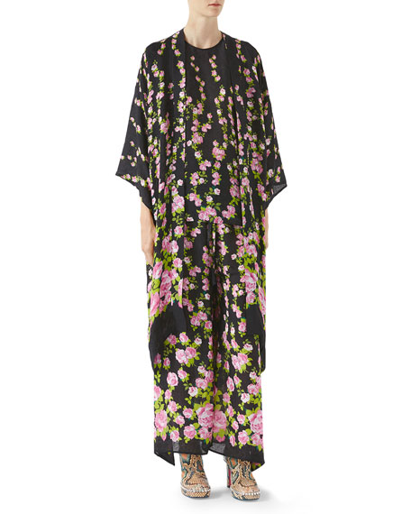 Climbing Roses Print Pajama Kimono