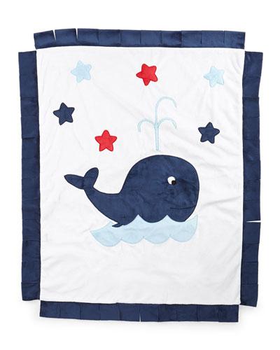Plush Whale Blanket  White/Navy