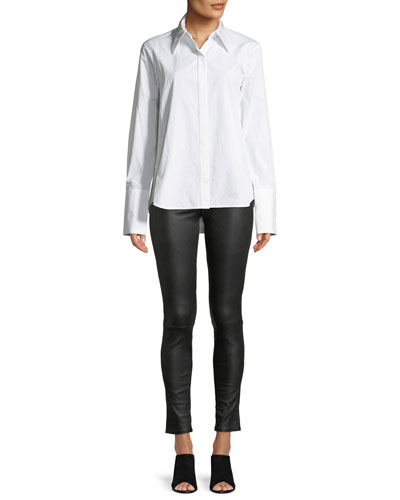 Point-Collar Snap-Front Long-Sleeve Cotton Shirt and Matching Items