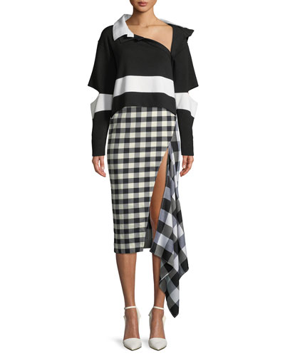 Open-Elbow Striped Wool Cropped Polo Sweater and Matching Items