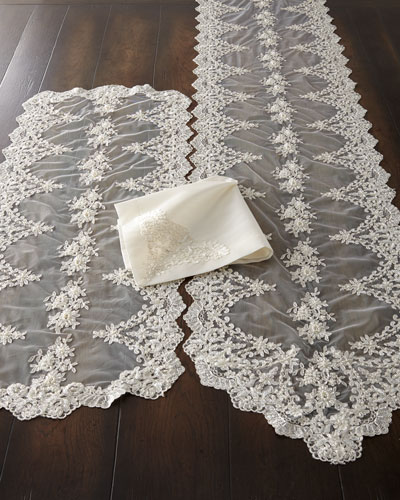 Hand-Beaded Pearls & Embroidery Silk Napkin  and Matching Items