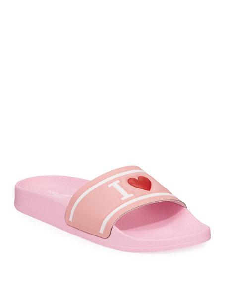 Leather I Heart D&G Pool Slide Sandals, Kids