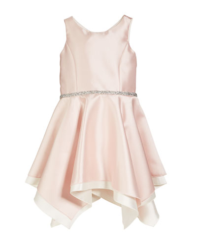 Sleeveless Handkerchief Dress with Crystal Belt  Size 4-6X  and Matching Items