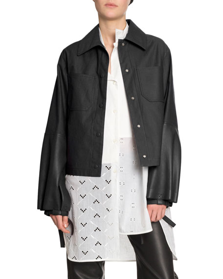 Embroidered Long-Sleeve Asymmetric Shirt
