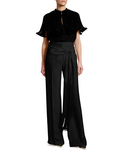 Fringed Belt Silk Pants