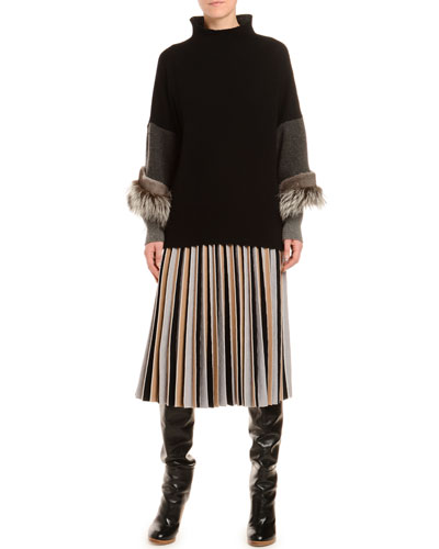 Pleated Colorblocked Wool Skirt and Matching Items