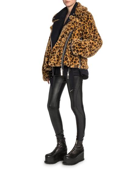 Leopard-Print Faux-Fur Wool Bomber Jacket