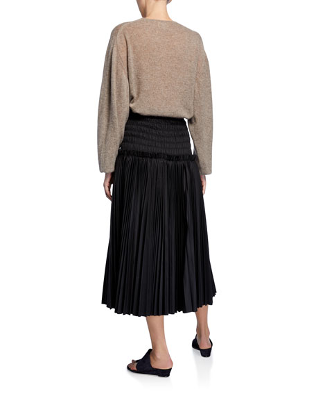 Emma Cashmere Plunging Tie-Neck Sweater