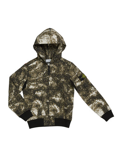Boy's Digital Space-Print Zip-Front Hooded Jacket  Size 8-10 and Matching Items