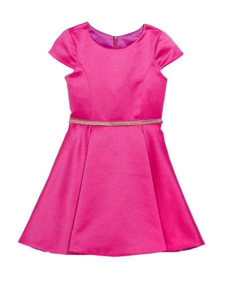 Girl's Holland Matte Sateen Dress w/ Rhinestone Belt, Size 7-16