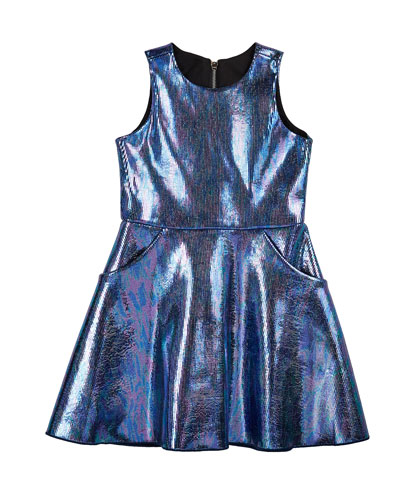 Girl's Metallic Foil Pocket Swing Dress  Size 4-6X  and Matching Items