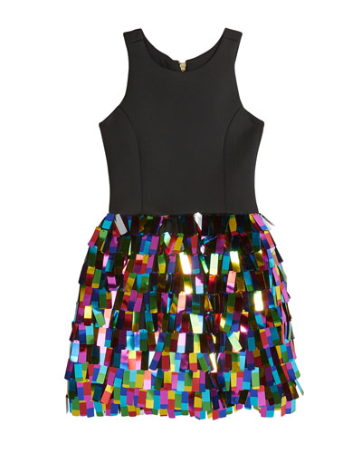 Girl's Halter Dress w/ Multicolor Rectangular Paillettes Skirt  Size 4-6X and Matching Items
