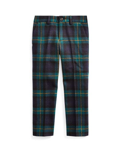 Boy's Slim Fit Twill Wool Plaid Pants  Size 2-4  and Matching Items
