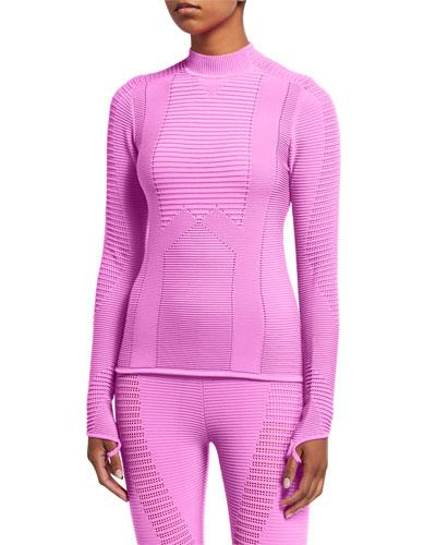 Rib-Knit Mock-Neck Long-Sleeve Sporty Top