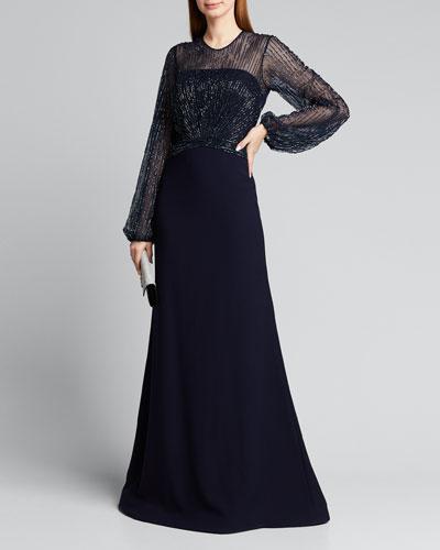 Beaded Yoke Long-Sleeve Illusion Gown