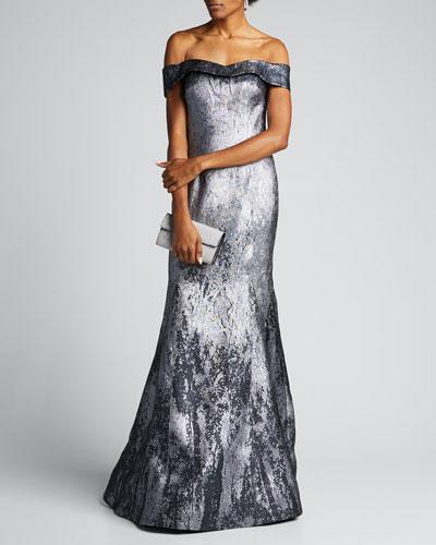Off-the-Shoulder Metallic Jacquard Mermaid Gown