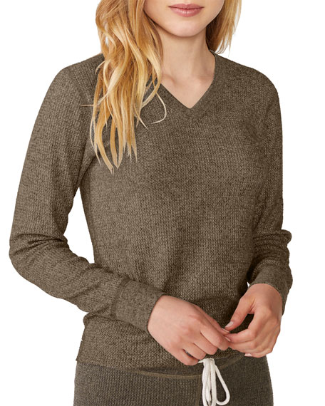 Image 1 of 1: Brushed Thermal V-Neck Long-Sleeve Top
