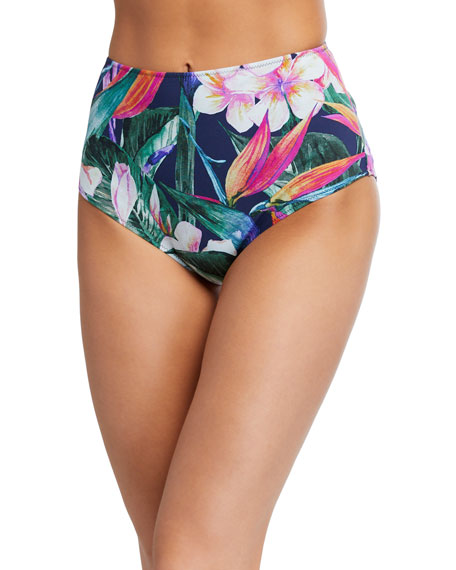 Image 1 of 1: Onnys Floral High-Waist Bikini Bottoms