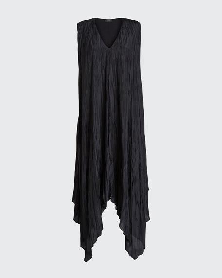 Sleeveless Checker Silk Habotai Midi Handkerchief Dress