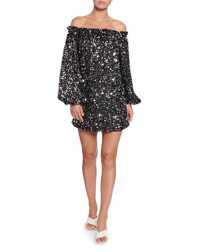 Gloria Off-Shoulder Sequined Short Dress