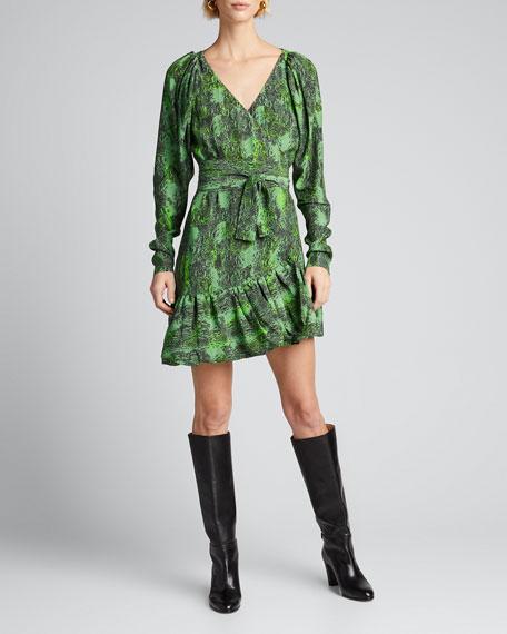 Nancy Snake-Print Wrap Dress