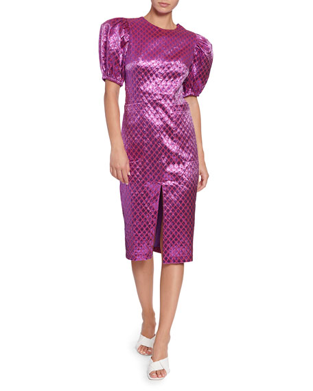 Image 1 of 1: Katrina Metallic Jacquard Short-Sleeve Dress