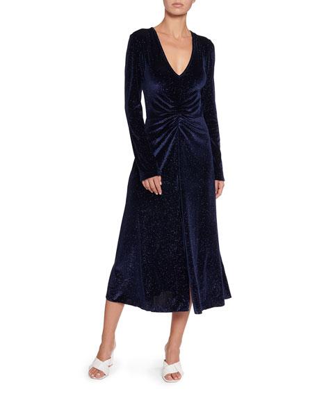 Number 7 Velvet Metallic Long-Sleeve Dress