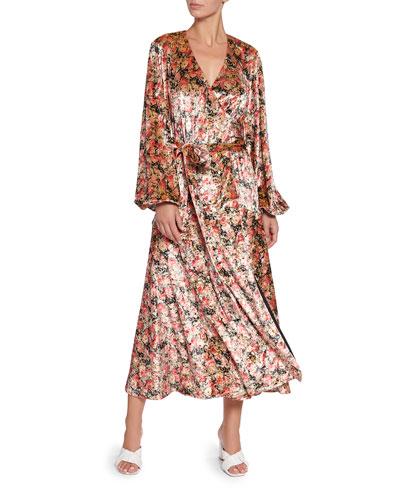 Beatirx Floral Velvet Blouson-Sleeve Wrap Dress