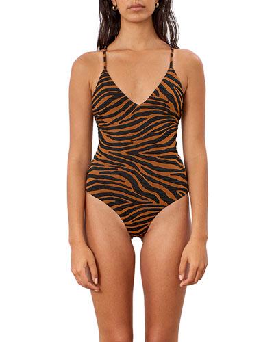 Emma Tiger Stripe Cross-Back One-Piece Swimsuit