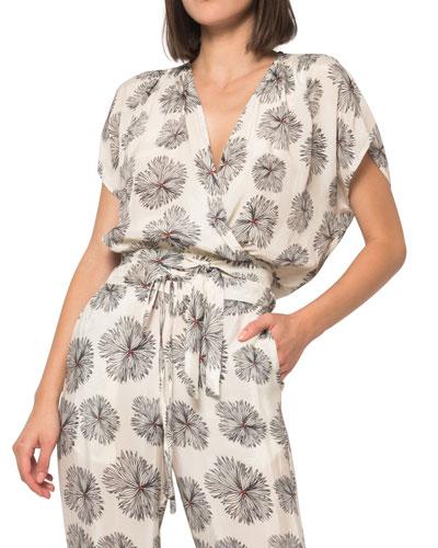 Nina Floral-Print Wrap Top