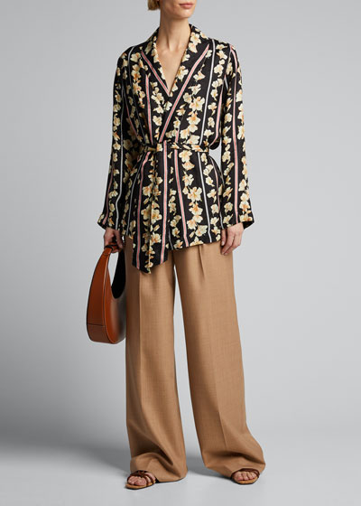 Guadaloupe Print Fluid Jacquard Belted Jacket