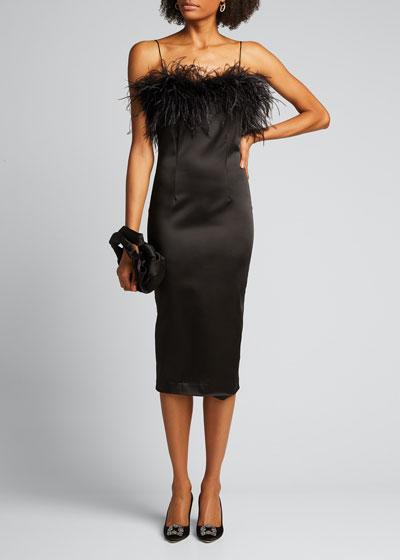 Lilya Sleeveless Cocktail Dress with Feathers