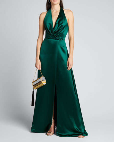 Plunge Front Heavy Charmeuse Satin Halter Gown