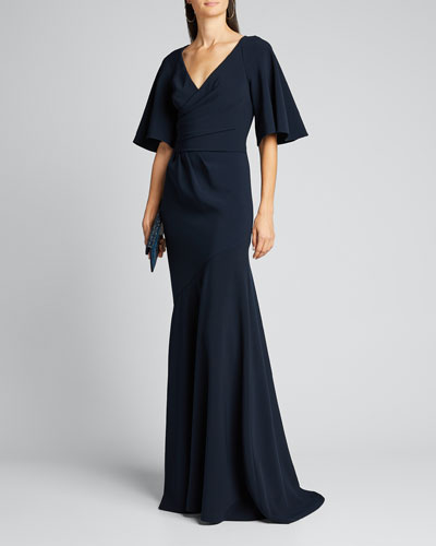 Elbow-Sleeve Wrap-Front Stretch Crepe Gown